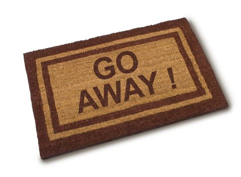 "Door mat that says ""Go Away!"""
