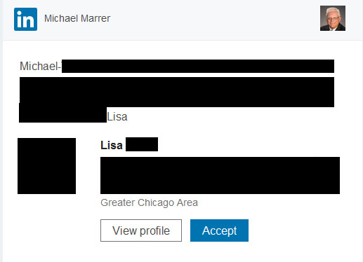 Sample Linkedin connection invitation received by email (redacted)